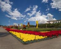 Tiananmen fyrkant -- är en fyrkant för stor stad i mitten av Peking Arkivfoton