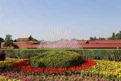 Tiananmen fyrkant -- är en fyrkant för stor stad i mitten av Peking Arkivfoto