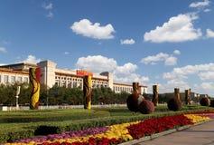 Tiananmen fyrkant -- är en fyrkant för stor stad i mitten av Peking, Kina Arkivbild