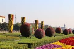 Tiananmen fyrkant -- är en fyrkant för stor stad i mitten av Peking, Kina Arkivfoton