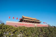 Tiananmen Gate and Chairman Mao Portrait, Beijing, China Stock Image