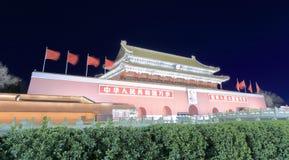 Tiananmen in winter night sight, adobe rgb. Tiananmen gate at night, beijing city, china Stock Image