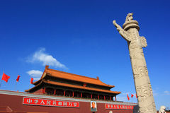Tiananmen and  marble pillar of china Royalty Free Stock Photos