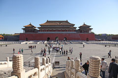 Tiananmen, Meridian Gate, Beijing, China. The Meridian Gate is the southern (and largest) gate of the Forbidden City. It has five arches. The three central Royalty Free Stock Photos