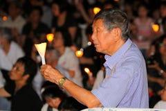 Tiananmen-Nachtwache in Hong Kong Stockbild