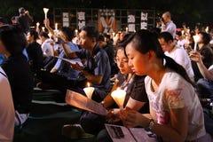 Tiananmen-Nachtwache in Hong Kong Lizenzfreies Stockfoto