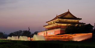 Tiananmen night. This is a photo of tiananmen night, which in BeiJing China. Tiananmen Square is a landmark in China Stock Photo