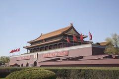 Tiananmen-Platz, Tor des himmlischen Friedens mit Maos Porträt, Peking, China. Lizenzfreie Stockbilder
