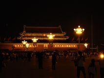 Tiananmen square in Beijing, China. Forbidden City, night, lights and Mao Zedong image. History, time, politics, people, power, tourism, street lamps, light stock photography