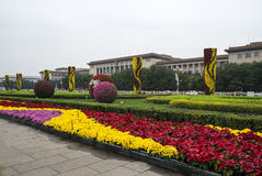 Tiananmen Square Decorated with Flowers Stock Image