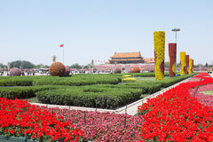 Tiananmen Square decorated with flowers Royalty Free Stock Image