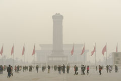 Tiananmen Square enveloped by the heavy fog and ha Royalty Free Stock Photo