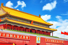 Tiananmen Square and Gate of Heavenly Peace- the entrance to the Stock Photos