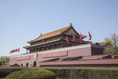 Tiananmen Square, Gate of Heavenly Peace with Mao's Portrait, Beijing, China. Royalty Free Stock Images