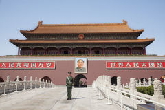 Tiananmen Square, Gate of Heavenly Peace with Mao's Portrait and guard, Beijing, China. Royalty Free Stock Photo
