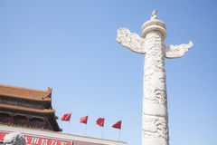 Tiananmen Square, Gate of Heavenly Peace with ornamental pillar, Beijing, China. Royalty Free Stock Photos