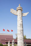 Tiananmen Square, Gate of Heavenly Peace with ornamental pillar, Beijing, China. Royalty Free Stock Images