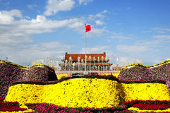 Tiananmen square in holiday with flower decoration Stock Images