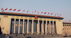Tiananmen Square. Is a large city square in the centre of Beijing, China, named after the Tiananmen gate (Gate of Heavenly Peace) located to its North Royalty Free Stock Photo