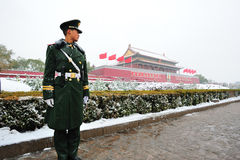 Tiananmen square in the snow Stock Photography