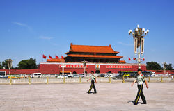 Tiananmen square and soldier Stock Photo