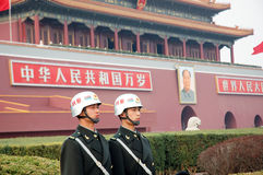 Tiananmen square and soldiers Royalty Free Stock Images