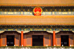 Tiananmen tower. Front view of famous chinese landmark - tiananmen square tower in Beijing, China. the heart of chinese politics Royalty Free Stock Images