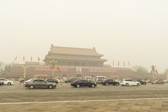Tiananmen Tower enveloped by the heavy fog and haz Royalty Free Stock Image