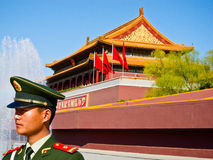 TianAnmen tower and one police Stock Images