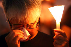 Tiananmen Vigil in Hong Kong. 150,000 people converged on Victoria Park to mark the 22nd anniversary of the bloody crackdown on pro-democracy protesters in Royalty Free Stock Image