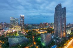 Tianfu International Finance Center buildings in Chengdu - China. Chengdu, Sichuan province, China - Sept 30, 2018: Tianfu International Finance Center buildings stock images