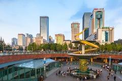 Tianfu-Quadrat von Chengdu, China lizenzfreies stockbild