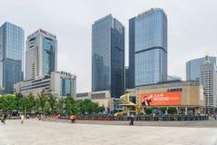 Tianfu Square and modern high-rise buildings in Chengdu, China. Chengdu, China - September 25, 2017: Tianfu Square and modern high-rise buildings in center of stock photo