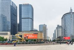 Tianfu Square and Renmin South Road in center of Chengdu. Chengdu, China - September 25, 2017: Scenic view of Tianfu Square and modern high-rise buildings on royalty free stock images