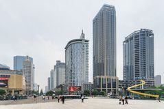 Tianfu Square and Renmin South Road in Chengdu, China. Chengdu, China - September 25, 2017: Beautiful view of Tianfu Square and modern high-rise buildings on royalty free stock images
