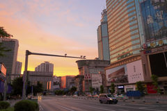 The tianhelu street at sunrise Royalty Free Stock Photography