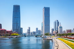 Tianjin against a sunny sky. Tianjin haihe river and modern buildings against a sunny sky , China Stock Images