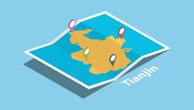 Tianjin bada mapy z isometric stylu i szpilki lokacji etykietką na wierzchołku ilustracji