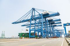 Tianjin,China,Jul 04 2017-Shipping cargo to harbor by crane,tianjin,china. stock photos