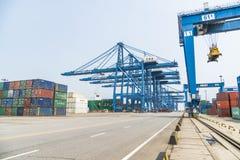 Tianjin,China,Jul 04 2017-Shipping cargo to harbor by crane,tianjin,china. royalty free stock photography
