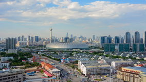 Tianjin,China - June 26,2016 :Time lapse Cityscape of Tianjin city China at daytime with moving cloud on sky. stock video