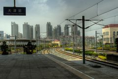 Tianjin, China - Railway Station and Skyline Royalty Free Stock Image