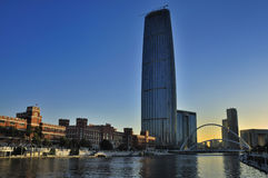 Tianjin City Landscape. Tianjin is the economic center of northern China.Tianjin is one of China's most livable city。Haihe River through downtown。The Stock Photos