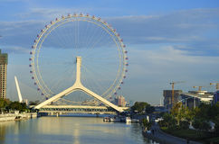Tianjin City Landscape-Tianjin Eye Ferris wheel. Tianjin is the economic center of northern China.Tianjin is one of China's most livable city。Haihe River Stock Photography