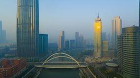 Tianjin city morning china fog Stock Image