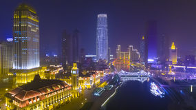 Tianjin city night china fog Royalty Free Stock Photos