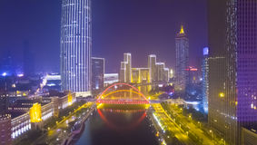 Tianjin city night china fog Stock Photography