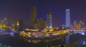 Tianjin city night china fog Stock Photos