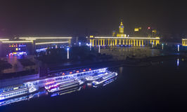 Tianjin city night china fog Royalty Free Stock Images