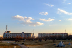 Tianjin city scenery of the city, China. Under the setting sun, the blue sky and white clouds and distant buildings are particularly beautiful scenery Royalty Free Stock Photo